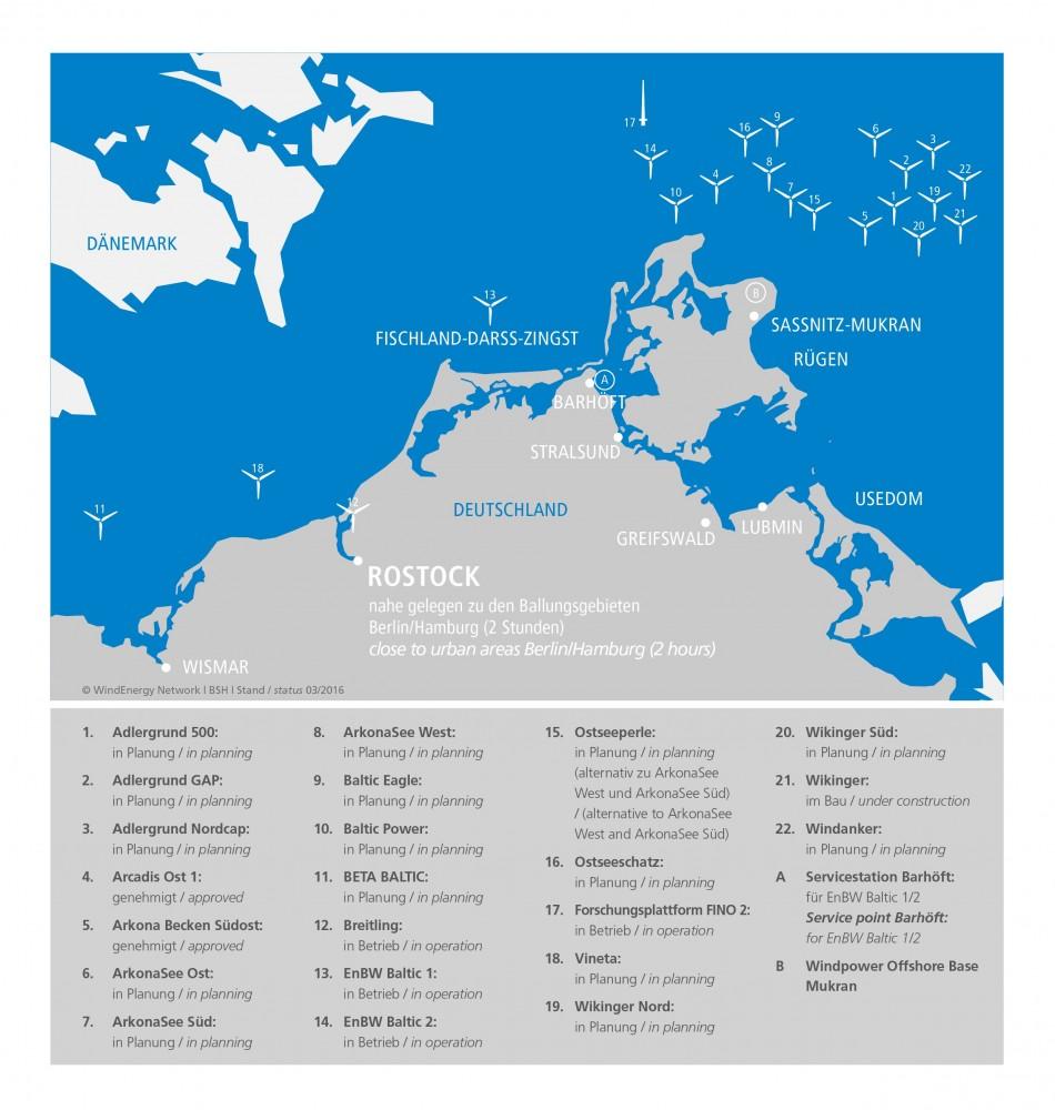 Ostsee Karte Rügen.Offshore Windparks In Der Ostsee Vor M V